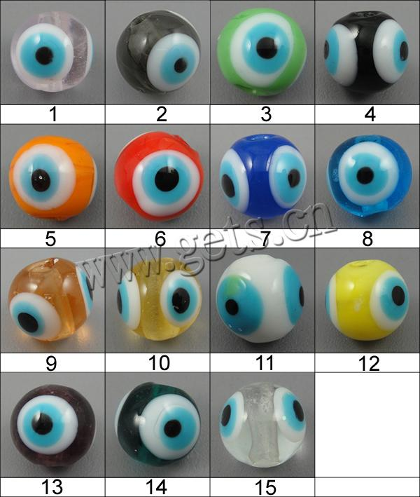Evil Eye Lampwork Beads, Round, more colors for choice, 10mm, Hole:Approx 2mm, Sold By PC