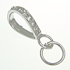 Sterling Silver Loop Bail, 925 Sterling Silver, plated, with cubic zirconia, more colors for choice, 2.4x15.8mm, 6.5x6.5x0.8mm, Hole:Approx 5mm, Sold By PC