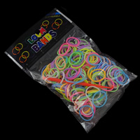 Loom Bands, Rubber, with Plastic, synthetic, attachted crochet hook & with plastic S clip & for children, mixed colors, 15x1.5mm, Approx 200PCs/Bag, Sold By Bag