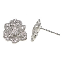 Cubic Zirconia Micro Pave Sterling Silver Earring, 925 Sterling Silver, Flower, plated, without earnut & micro pave cubic zirconia, more colors for choice, 11x12x15mm, 0.8mm, Sold By Pair