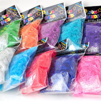 Loom Bands, Rubber, with plastic C clasp or S clasp & DIY & for children & transparent & colorful powder, mixed colors, 2mm, 600PCs/Bag, Sold By Bag