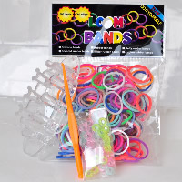 Loom Bands, Rubber, loom board & loom clip & loom crochet hook, with Plastic, DIY & for children, mixed colors, 2mm, Approx 300PCs/Bag, Sold By Bag