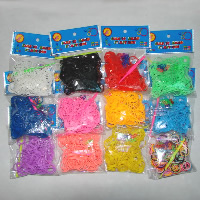 Loom Bands, Rubber, with Plastic, Rectangle, attachted crochet hook & with plastic S clip & DIY & for children, 2mm, 200PCs/Bag, Sold By Bag