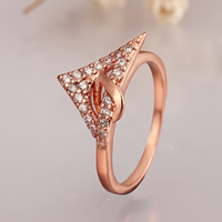 comeon® Finger Ring, Brass, Triangle, real rose gold plated, different size for choice & micro pave cubic zirconia, 11mm, Sold By PC