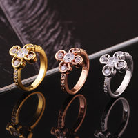 comeon® Finger Ring, Brass, Flower, plated, different size for choice & with cubic zirconia, more colors for choice, 15x14mm, Sold By PC