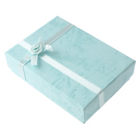 Earring Box, Cardboard, with Satin Ribbon, Rectangle, light blue, 80x110x30mm, 48PCs/Lot, Sold By Lot