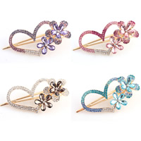 Alligator Hair Clip, Zinc Alloy, with Crystal, Heart, gold color plated, faceted & with rhinestone, mixed colors, nickel, lead & cadmium free, 110x50mm, 20PCs/Bag, Sold By Bag