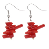 Coral Drop Earring, Natural Coral, brass earring hook, red, 17x38mm, Sold By Pair