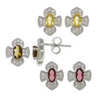 Cubic Zirconia Micro Pave Sterling Silver Earring, 925 Sterling Silver, Flower, platinum plated, micro pave cubic zirconia, more colors for choice, 9x10.5x14mm, Sold By Pair
