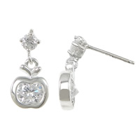 Cubic Zirconia Micro Pave Sterling Silver Earring, 925 Sterling Silver, Apple, without earnut & micro pave cubic zirconia, 16mm, 8x10x3.5mm, 0.8mm, Sold By Pair