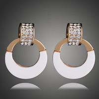 Resin Zinc Alloy Earring, Brass, with Resin, Donut, gold color plated, with rhinestone, 19x25mm, Sold By Pair