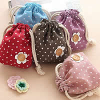 Cotton Fabric Drawstring Pouches, with Cotton Cord & Wood, Rectangle, with round spot pattern, mixed colors, 140x175mm, Sold By PC