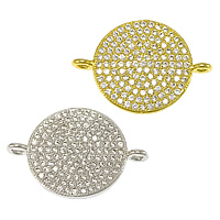 Cubic Zirconia Micro Pave Brass Connector, Flat Round, plated, micro pave cubic zirconia & 1/1 loop, more colors for choice, 22x16x2mm, Hole:Approx 1.2mm, Sold By PC