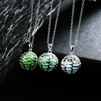 comeon® Jewelry Necklace, Zinc Alloy, with Fluorescent Powder Stone, Round, real silver plated, oval chain & luminated & hollow, more colors for choice, 18x27mm, Length:Approx 19.6 Inch, Sold By Strand