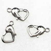 Stainless Steel Lobster Claw Clasp, Heart, original color, 15x8.5mm, Hole:Approx 1.5mm, Sold By PC