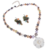 Brass Freshwater Pearl Jewelry Sets, earring & necklace, with White Shell & Brass, with 5cm extender chain, Flower, multi-colored, 34x12mm, 15x50mm, Length:Approx 15.5 Inch, Sold By Set