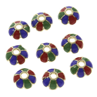 Thailand Sterling Silver Cloisonne Bead Cap, Flower, 8x3mm, Hole:Approx 2mm, Sold By PC