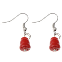 Coral Drop Earring, Natural Coral, iron earring hook, platinum color plated, natural, red, 9x32mm, Sold By Pair