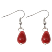 Coral Drop Earring, Natural Coral, iron earring hook, Teardrop, platinum color plated, natural, red, 8x34mm, Sold By Pair