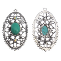 Turquoise Zinc Alloy Pendants, with Synthetic Turquoise, Flat Oval, antique silver color plated, with rhinestone, lead & cadmium free, 28x47x8mm, Hole:Approx 1.5mm, Sold By PC