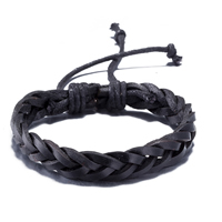 comeon® Jewelry Bracelet, Cowhide, with Waxed Cotton Cord, braided bracelet & Unisex & adjustable, Length:Approx 11.8 Inch, Sold By Strand