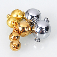 Brass Magnetic Clasp, Round, plated, different size for choice & single-strand, more colors for choice, Hole:Approx 2.2mm, Sold By PC