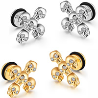Stainless Steel Ear Piercing Jewelry, with Silicone, Skull Cross, plated, Unisex & micro pave cubic zirconia, more colors for choice, 12x15mm, Sold By Pair