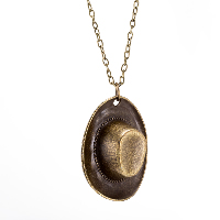 comeon® Jewelry Necklace, Zinc Alloy, with 1.96lnch extender chain, Hat, antique bronze color plated, oval chain & for woman, 35x45mm, Length:Approx 18.1 Inch, Sold By Strand