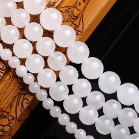 White Chalcedony Bead, Round, natural, Hole:Approx 1-2mm, Length:Approx 15 Inch, Sold By Strand