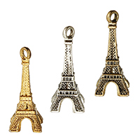 Zinc Alloy Building Pendants, Eiffel Tower, plated, more colors for choice, 7x17x7mm, Hole:Approx 1.5mm, Sold By PC