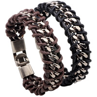 Men Bracelet, Cowhide, with Linen & Zinc Alloy, platinum color plated, for man, more colors for choice, 20mm, Length:Approx 8.2 Inch, Sold By Strand