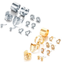 Zinc Alloy Jewelry Set, finger ring & earring, brass post pin, plated, for woman & with rhinestone, more colors for choice, 4x4mm,9x7mm,7x7mm,7x10mm, US Ring Size:7, 6Pairs/Set, Sold By Set