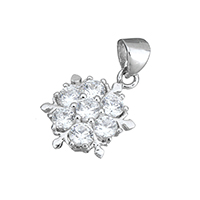 Cubic Zirconia Micro Pave Sterling Silver Pendant, 925 Sterling Silver, Flower, micro pave cubic zirconia, 10.5x15x3.5mm, Hole:Approx 3x4mm, Sold By PC