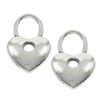 Zinc Alloy Heart Pendants, antique silver color plated, lead & cadmium free, 12x18x2mm, Hole:Approx 6x7mm, Sold By PC