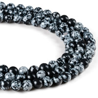 Snowflake Obsidian Bead, Round, natural, different size for choice, Hole:Approx 1mm, Length:Approx 15 Inch, Sold By Strand