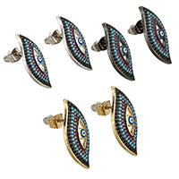 Evil Eye Earrings, Brass, plated, micro pave cubic zirconia & enamel, more colors for choice, 12.5x24.5x16mm, Sold By Pair