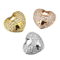 Cubic Zirconia Micro Pave Brass Pendant, Heart, plated, micro pave cubic zirconia & hollow, more colors for choice, 13.5x12x5.5mm, Hole:Approx 3.5x2.5mm, Sold By PC