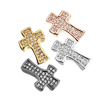 Cubic Zirconia Micro Pave Brass Beads, Cross, plated, micro pave cubic zirconia, more colors for choice, 9x14x3mm, Hole:Approx 1mm, Sold By PC