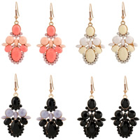 Resin Zinc Alloy Earring, with Resin, iron earring hook, gold color plated, faceted, more colors for choice, lead & cadmium free, 56x28mm, Sold By Pair