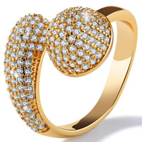 Cubic Zirconia Micro Pave Brass Finger Ring, 18K gold plated, open & different size for choice & micro pave cubic zirconia & for woman, 20mm, Sold By PC
