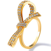 Cubic Zirconia Micro Pave Brass Finger Ring, Bowknot, 18K gold plated, different size for choice & micro pave cubic zirconia & for woman, 29mm, Sold By PC