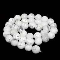 Natural White Turquoise Beads, Round, different size for choice, Hole:Approx 1mm, Length:Approx 15 Inch, Sold By Strand