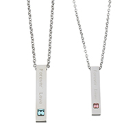 Couple Stainless Steel Necklace, Rectangle, word forever love, oval chain & with letter pattern & with cubic zirconia, original color, 7x37mm, 2.5mm, 6x32mm, 2mm, Length:Approx 20 Inch, Approx 18 Inch, 2Strands/Set, Sold By Set