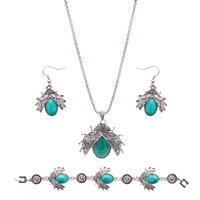 Turquoise Jewelry Sets, Zinc Alloy, bracelet & earring & necklace, with iron chain & Synthetic Turquoise, iron earring hook, with 5cm extender chain, Insect, antique silver color plated, lantern chain & with rhinestone, lead & cadmium free, 42x27mm, 52x50mm, Length:Approx 11.5 Inch, Approx  7.5 Inch, Sold By Set