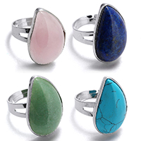 Gemstone Brass Finger Ring, with Gemstone, Leaf, silver color plated, different materials for choice, 16x26mm, US Ring Size:8, Sold By PC