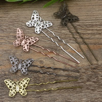 Hair Stick, Brass, with Iron, Butterfly, plated, more colors for choice, nickel, lead & cadmium free, 75x1.2mm, 20PCs/Bag, Sold By Bag