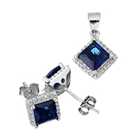 Cubic Zirconia Micro Pave Sterling Sliver Jewelry Sets